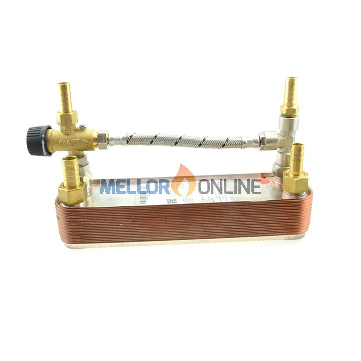 Webasto Motor Home Plate Heat Exchanger with Mixer Valve and hose connections inc